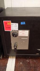 Black Amsec TL 15 Used Black Safe Dial Lock Closed Door Dimensions Exterior H32 x W31 x D29 Interior H25 x W24 x D19