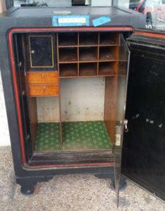 Antique Diebold Bankers Safe with Dial Lock and Shelving Open Inner Door Dimensions Exterior H42 x W33.5 x D30 Interior H34 x W24 x D20