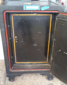 Antique Diebold Bankers Safe with Dial Lock and Shelving Open Door Dimensions Exterior H42 x W33.5 x D30 Interior H34 x W24 x D20