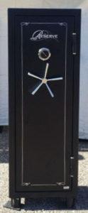 Hollon Reserve Gun Safe Fire Rating: 1250F 60 Minutes Black Closed Door with Shelving Exterior Dimensions: 59″ x 22″ x 16″ Interior Dimensions: 56″ x 19.5″ x 11″
