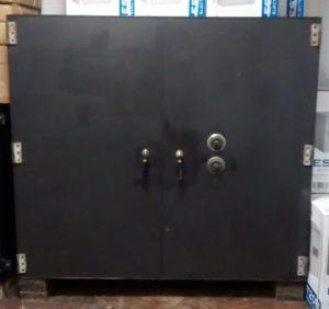 Double Door Custom Safe Black Closed Doors Exterior Dimensions 52''H x 58''W x 24''D Internal Dimensions 50''H x 52''W x 20''D Drawer Dimensions 6''H x 49''W x 19''D