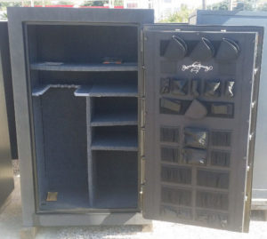 AMSEC FV6036 Used Gun Safe Fire Rating: Mercury Class 45 Minute at 1200°F Black Open Door with Shelving Dimensions Exterior H-59'' W-36'' D-26'' Interior H-54.5'' W-33'' D-22.5''