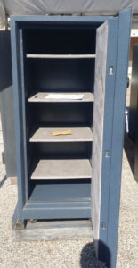 Gardall Used Safe Blue Grey 2 Hour Fire Rating Dial Lock Open Door with Shelving Dimensions Exterior H-56'' W-26'' D-27'' Interior H-48'' W-20'' D-20''