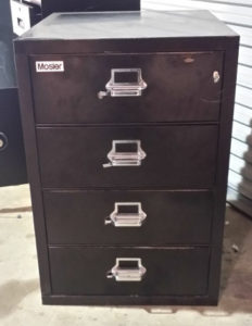 Mosler Fire File Cabinet Safe Black Key Lock Closed Drawers Dimensions Exterior H36 x W25.5 x D31.5 Drawer Interior (4 Drawers) H5 x W32 x D26