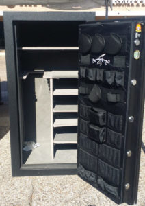 AMSEC SF6030 Used Gun Safe Black 1 Hour Fire Rating Open Door with Shelving and Door Organizer Dimensions Exterior H-59'' W-30'' D-26''Interior H-55'' W-27'' D-22''