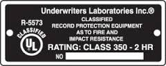 UL Fire Rating Label 2 HR