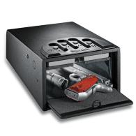 GunVault gv1000d hand gun safe black with fingerprint reader. Exterior dimensions 5 x 8 x 12, Interior 3 x 7 x 11