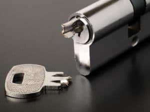 Broken key stuck inside lock